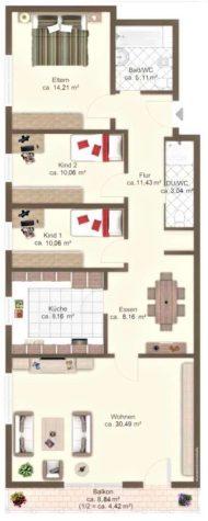Schöne und helle 4-Zimmerwohnung mit Balkon, 82515 Wolfratshausen, Erdgeschosswohnung